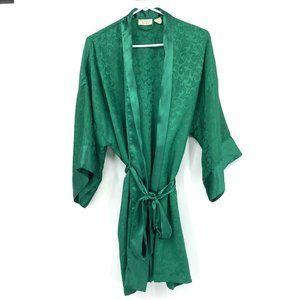 Victoria's Secret Vintage Green Satin Kimono Robe